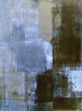 Μπλε και καφετιά αφηρημένη ζωγραφική τέχνης στοκ φωτογραφία