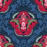 Μπλε και κόκκινο ινδικό άνευ ραφής σχέδιο Στοκ Εικόνα