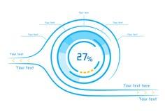 Μπλε και πορτοκαλί infographics ως head-up επίδειξη Στοκ εικόνα με δικαίωμα ελεύθερης χρήσης
