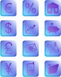Μπλε και πορφυρά οικονομικά κουμπιά και εικονίδια Στοκ φωτογραφίες με δικαίωμα ελεύθερης χρήσης