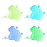 Μπλε και πράσινοι λεκέδες watercolor Στοκ φωτογραφία με δικαίωμα ελεύθερης χρήσης