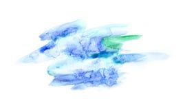 Μπλε και πράσινοι λεκέδες watercolor Στοκ Εικόνες