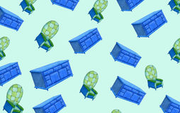 Μπλε και πράσινο επιτραπέζιο σχέδιο πολυθρόνων και επιδέσμου Στοκ φωτογραφία με δικαίωμα ελεύθερης χρήσης