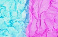 Μπλε και ρόδινο τσαλακωμένο έγγραφο Στοκ Φωτογραφία