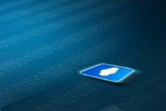 Μπλε καμμένος app σύννεφων εικονίδιο στο υπόβαθρο τεχνολογίας Στοκ εικόνες με δικαίωμα ελεύθερης χρήσης