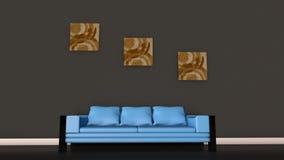 Μπλε καναπές Στοκ Φωτογραφίες