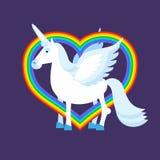 Μπλε καρδιά ουράνιων τόξων μονοκέρων Σημάδι ουράνιων τόξων LGBT ζώο φανταστικό Στοκ Φωτογραφίες