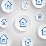 Μπλε κατοικήστε σε ένα άσπρο κουμπί ελεύθερη απεικόνιση δικαιώματος