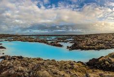 Μπλε καυτό ελατήριο λιμνοθαλασσών, Ισλανδία Στοκ Εικόνες