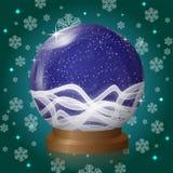 Μπλε κενή σφαίρα χιονιού με το αναδρομικό σχέδιο χιονοθύελλας ελεύθερη απεικόνιση δικαιώματος