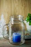 Μπλε κερί στο γυαλί μπουκαλιών Στοκ εικόνες με δικαίωμα ελεύθερης χρήσης