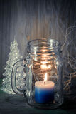 Μπλε κερί στο γυαλί μπουκαλιών Στοκ φωτογραφία με δικαίωμα ελεύθερης χρήσης