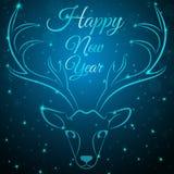 Μπλε κεφάλι ελαφιών Χαρούμενα Χριστούγεννας Στοκ εικόνες με δικαίωμα ελεύθερης χρήσης