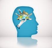 Μπλε κεφάλι με το σκίτσο ταξιδιού διανυσματική απεικόνιση