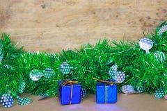 Μπλε κιβώτια δώρων για τη Παραμονή Χριστουγέννων Στοκ εικόνες με δικαίωμα ελεύθερης χρήσης