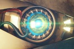 Μπλε κινηματογράφηση σε πρώτο πλάνο ματιών cyber απεικόνιση αποθεμάτων