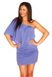μπλε κορίτσι φορεμάτων Στοκ Φωτογραφίες