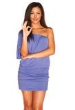 μπλε κορίτσι φορεμάτων Στοκ Φωτογραφία