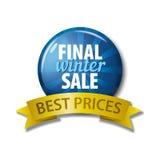 Μπλε κουμπί με την τελική χειμερινή πώληση λέξεων ` - καλύτερες τιμές ` Στοκ Εικόνες