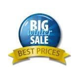 Μπλε κουμπί με τη μεγάλη χειμερινή πώληση λέξεων ` - καλύτερες τιμές ` Στοκ Φωτογραφία