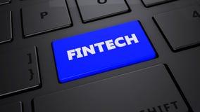 Μπλε κουμπί πληκτρολογίων Fintech Στοκ φωτογραφία με δικαίωμα ελεύθερης χρήσης