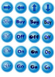 Μπλε κουμπιά με τα σημάδια Στοκ Φωτογραφίες