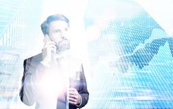 Μπλε κτήρια επιχειρηματιών Στοκ εικόνα με δικαίωμα ελεύθερης χρήσης