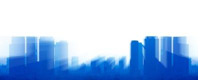 Μπλε κτήρια με το φως ζουμ Στοκ εικόνα με δικαίωμα ελεύθερης χρήσης