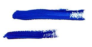 Μπλε κτυπήματα της βούρτσας χρωμάτων που απομονώνεται Στοκ Φωτογραφίες