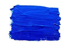 Μπλε κτυπήματα της βούρτσας χρωμάτων που απομονώνεται Στοκ Φωτογραφία
