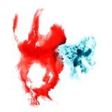 Μπλε, κόκκινος καλλιτέχνης απεικόνισης διαζυγίου λεκέδων Στοκ Εικόνα