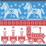 Μπλε, κόκκινο, και άσπρο Σκανδιναβικό άνευ ραφής σκανδιναβικό σχέδιο με το τραίνο ζωμού, δώρα Χριστουγέννων, καρδιές, άλογο πόνι  διανυσματική απεικόνιση