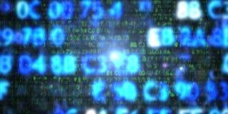 Μπλε κώδικας δεκαεξαδικού υπολογιστών Προστασία δεδομένων διανυσματική απεικόνιση
