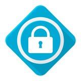 Μπλε κλειδαριά εικονιδίων με τη μακριά σκιά Στοκ φωτογραφία με δικαίωμα ελεύθερης χρήσης