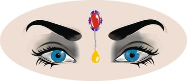 Μπλε μάτια γυναικών s με την ανατολική σύνθεση στοκ εικόνα
