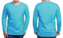 Μπλε μακρύ Sleeved πρότυπο σχεδίου πουκάμισων Στοκ Εικόνες