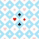 Μπλε μαύρο λευκό πινάκων σκακιού κοστουμιών καρτών Στοκ Φωτογραφίες