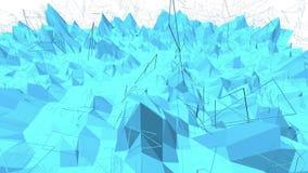 Μπλε μεταλλική χαμηλή πολυ επιφάνεια κυματισμού ως περιβάλλον υπολογιστών Μπλε polygonal γεωμετρικό δομένος περιβάλλον ή απεικόνιση αποθεμάτων