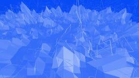 Μπλε μεταλλική χαμηλή πολυ επιφάνεια κυματισμού ως περιβάλλον poligonal Μπλε polygonal γεωμετρικό δομένος περιβάλλον ή ελεύθερη απεικόνιση δικαιώματος