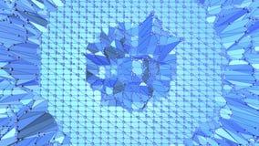 Μπλε μεταλλική χαμηλή πολυ επιφάνεια κυματισμού ως φανταστικό τοπίο Μπλε polygonal γεωμετρικό δομένος περιβάλλον ή να κυμαθεί διανυσματική απεικόνιση