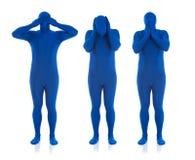 Μπλε: Μην ακούστε κανένα κακό, μην δείτε κανένα κακό, μην μιλήστε κανένα κακό στοκ εικόνα με δικαίωμα ελεύθερης χρήσης