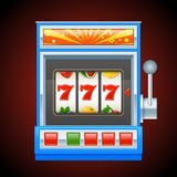 Μπλε μηχάνημα τυχερών παιχνιδιών με κέρματα Στοκ Φωτογραφίες