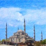 μπλε μουσουλμανικό τέμενος Σειρά σκίτσων της Ιστανμπούλ Στοκ Φωτογραφίες