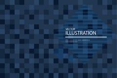 Μπλε μωσαϊκό, αφηρημένο υπόβαθρο τετραγώνων εικονοκυττάρου Στοκ Εικόνα