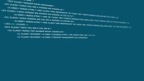 Μπλε να τυλίξει κωδικοποίηση HTML στο άσπρο υπόβαθρο φιλμ μικρού μήκους
