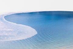 Μπλε νερά της λειώνοντας λίμνης Στοκ εικόνες με δικαίωμα ελεύθερης χρήσης
