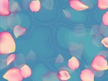 Μπλε νερό με τα ροδαλά πέταλα Στοκ φωτογραφίες με δικαίωμα ελεύθερης χρήσης