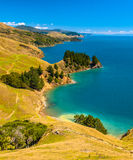 Μπλε νερό στους ήχους Marlborough, νότιο νησί, Νέα Ζηλανδία Στοκ φωτογραφία με δικαίωμα ελεύθερης χρήσης