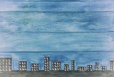Μπλε ξύλινες επιτροπές με τον ορίζοντα Στοκ φωτογραφία με δικαίωμα ελεύθερης χρήσης