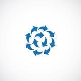 Μπλε λογότυπο εικονιδίων βελών επίπεδο Στοκ φωτογραφίες με δικαίωμα ελεύθερης χρήσης